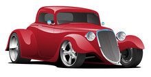 Custom American Red Hot Rod Car Isolated Vector Illustration