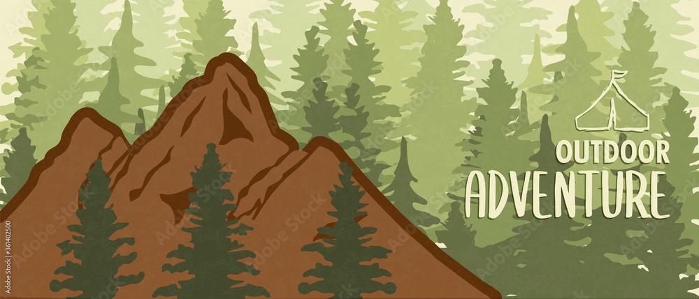 Fototapeta Outdoor adventure mountain forest banner