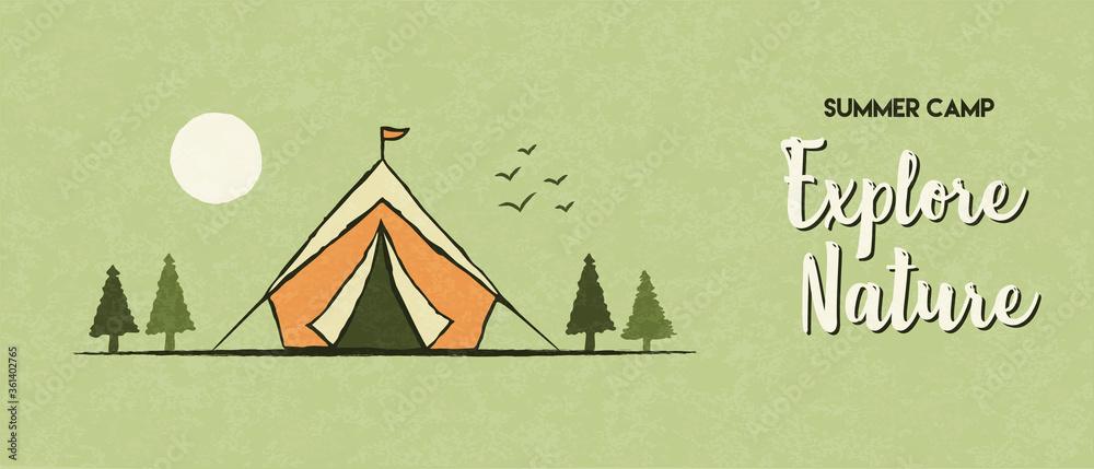 Fototapeta Explore nature banner of summer camp tent