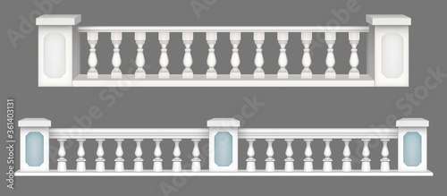 Marble balustrade, white balcony railing or handrails Wallpaper Mural