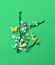 Happy Woman Jumping With Papercut Nature