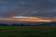 Sunset In Hot Summer Rainy Eve...