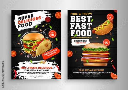 Photo Fast Food Flyer Design Template cooking, cafe and restaurant menu, food ordering, junk food