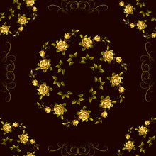 Seamless Pattern On A Brown Background, Ornament With Beautiful Roses, Modern Concept For Your Design.