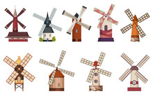 Collection Of Traditional Ancient Windmill Buildings. Rural Organic Agricultural Production, Ecological Food Manufacturing, Clean Energy Concept, Wind Mill Farm. Medieval European Windmill