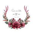 Wreath of bugundy watercolor roses and various leaves. Botanic illustration for card composition design