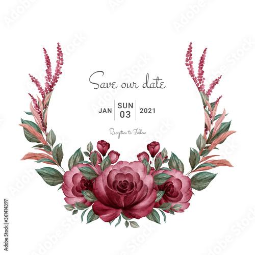 Fototapeta Wreath of bugundy watercolor roses and various leaves. Botanic illustration for card composition design obraz
