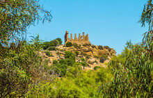 The Temple Of Juno In The Ancient Sicilian City Of Agrigento Viewed From The Base Of City Ridge In Summer