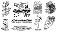 Surf Badge, Vintage Surfer Lo...