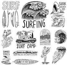 Surf Badge, Vintage Surfer Lo...