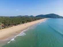 Agonda Beach Aerial Drone View. Goa. India.