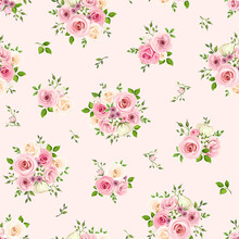 Vector Seamless Pattern With Pink And White Roses On A Pink Background.