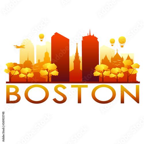 Boston Skyline Silhouette Gradient Vector City Design. Canvas Print