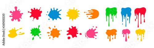 Paint splatter colorful set Billede på lærred