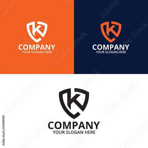 Photo Letter K Abstract Shield Logo Template Vector, Shield Logo Letter K