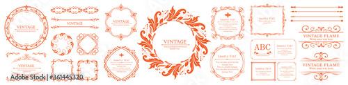 Fototapeta ハロウィンのフレーム素材、10月、アンティークな装飾、ビンテージな模様、植物のツタ obraz