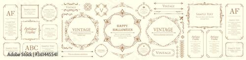 ハロウィンのフレーム素材、10月、アンティークな装飾、ビンテージな模様、植物のツタ Fotobehang
