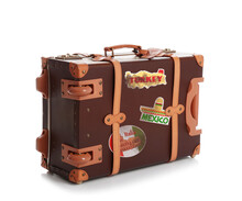 Retro Suitcase With Travel Stickers On White Background