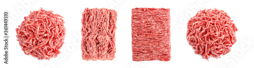 Fototapeta Set with raw minced meat on white background, top view. Banner design obraz