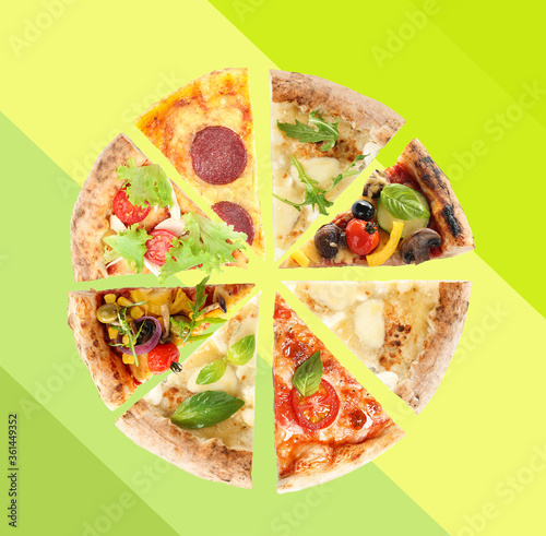Obraz na plátně Slices of different pizzas on color background, top view