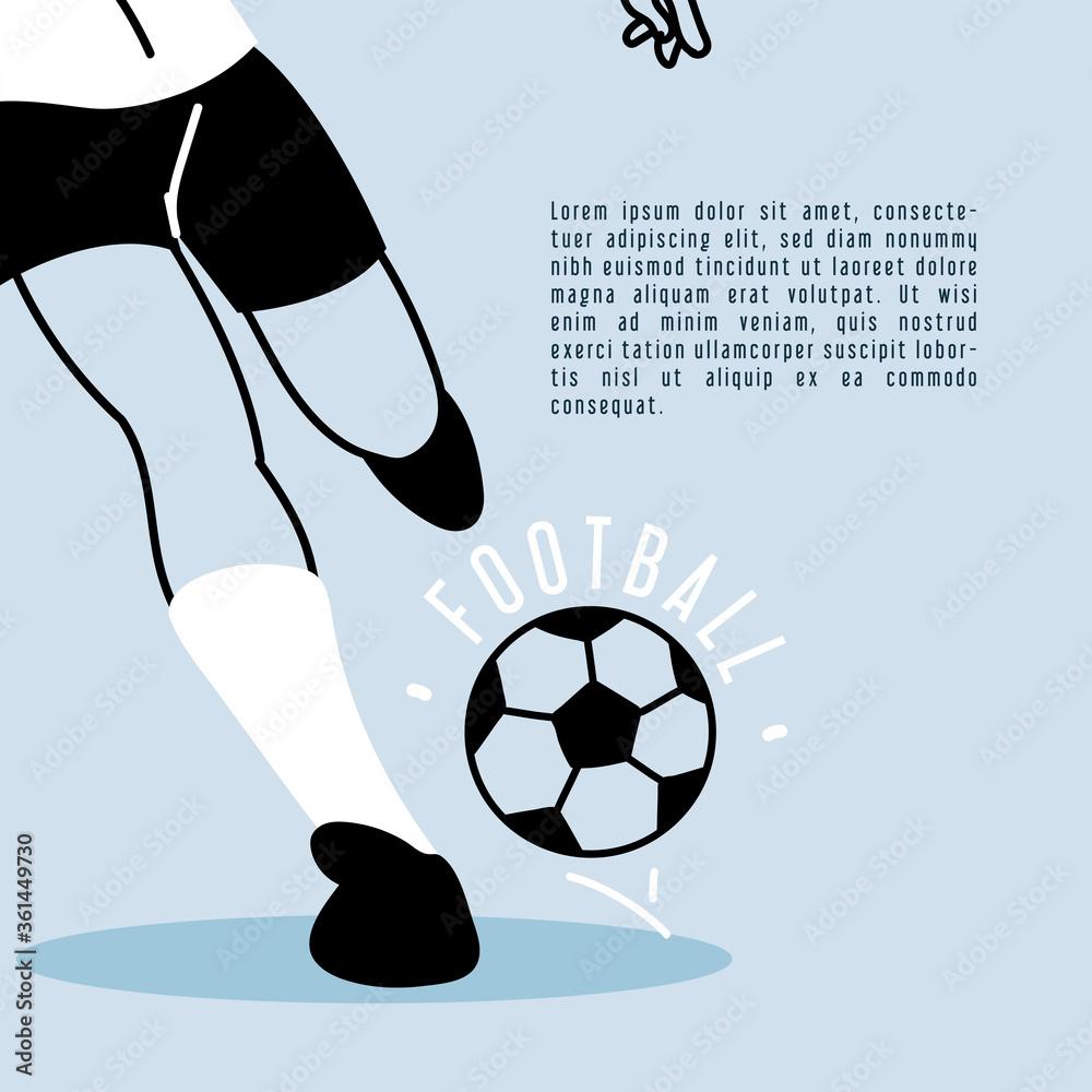 Fototapeta soccer player running with soccer ball, poster