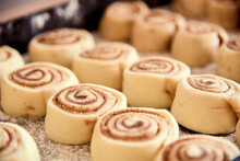 Unbaked Cinnamon Rolls, Ready To Go Into The Oven.