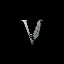 Luxury Feather Letter V Logo I...