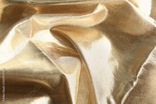 Texture of beautiful golden fabric as background, closeup Billede på lærred