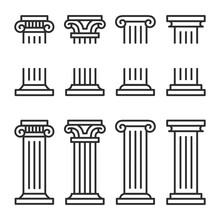Columns Line Icon Set.  Ancient Architecture Pillars Vector Illustration