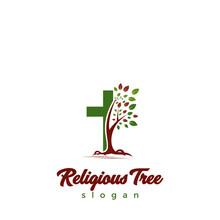Religious Tree Logo Design Template