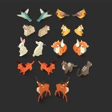 Isometric Birds And Animals Set