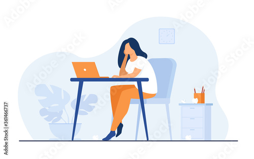 Cartoon exhausted woman sitting and table and working isolated flat vector illustration. Tired businesswoman with professional burnout syndrome. Tiredness and trouble concept - 361466737