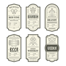 Various Vintage Alcohol Bottle Labels Set. Geometric Gin, Bourbon, Whiskey, Wine And Liquor Emblem Design Vector Illustration Collection. Packaging Tags And Decoration Concept