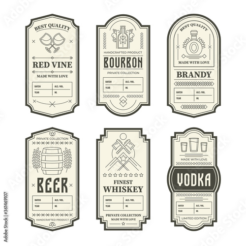 Leinwand Poster Various vintage alcohol bottle labels set