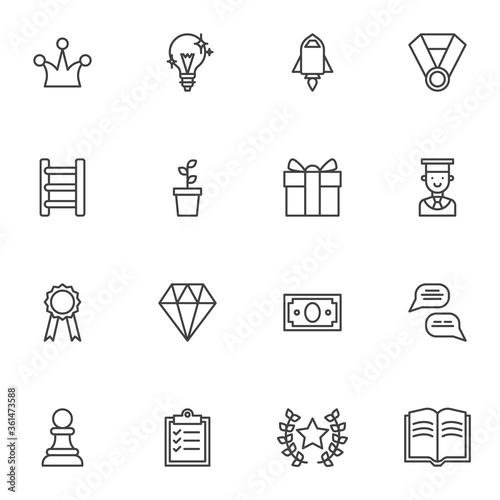 Fotografía Motivation line icons set, success business outline vector symbol collection, linear style pictogram pack