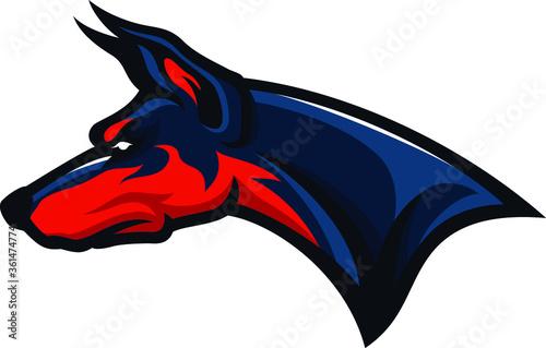Fototapeta Head of Doberman Pinscher Sport Mascot Logotype