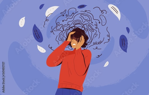 Fotografie, Tablou Frustrated woman with nervous problem feel anxiety and confusion of thoughts vector flat illustration