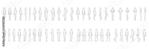 Obraz Fashion template of 50 men and women. 9 head size for technical drawing. Gentlemen and lady figure front, side, 3-4 and back view. Vector outline boy and girl for fashion sketching and illustration. - fototapety do salonu