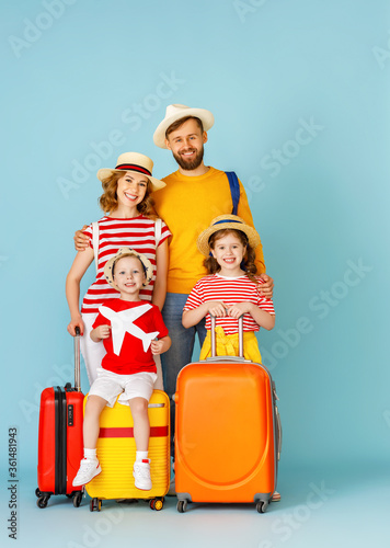 Modern happy family ready for trip.
