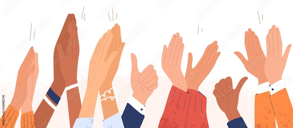 Fototapeta Arms of diverse people applauding vector illustration. Colorful man and woman clapping hands isolated on white background. Multinational audience demonstrate greeting, ovation or cheering gesture
