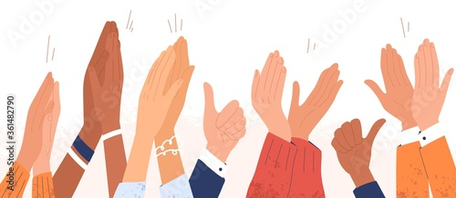 Arms of diverse people applauding vector illustration. Colorful man and woman clapping hands isolated on white background. Multinational audience demonstrate greeting, ovation or cheering gesture - 361482790