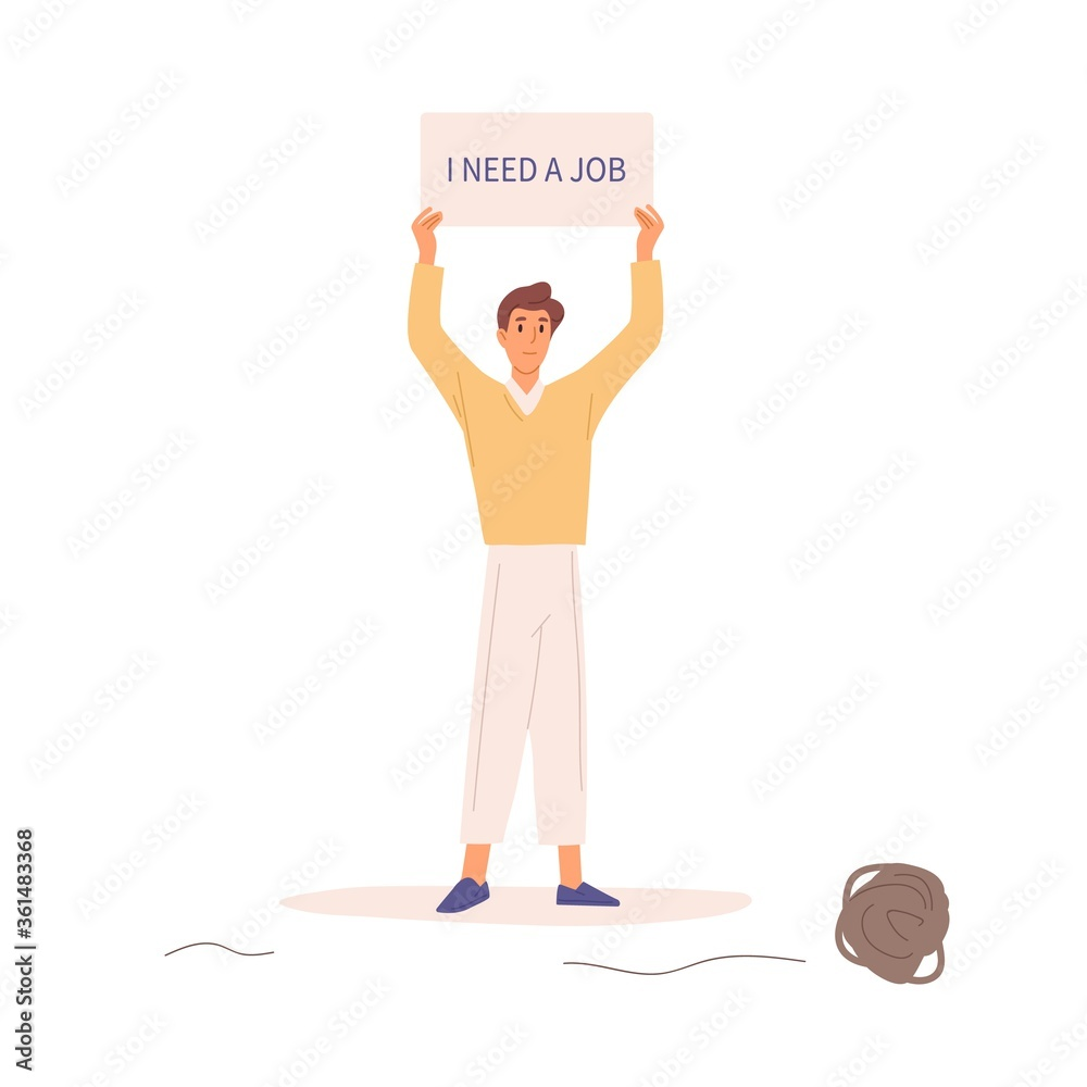 Fototapeta Unemployed man hold banner with text i need a job vector flat illustration. Hopeless guy trying to find work demonstrate banner isolated on white background. Male having problem with employment
