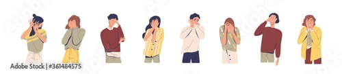 Fotografie, Tablou Set of regret or embarrassed people vector illustration