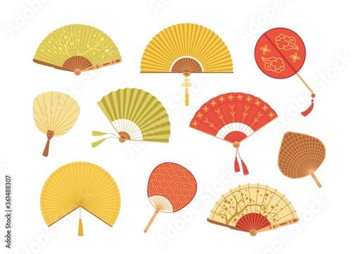 Fényképezés Set of Asian paper and textile fans vector illustration