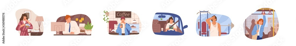 Fototapeta Set of drowsiness people vector flat illustration. Collection of sleepy man and woman at work at office, training at gym, driving car, ride bus, drink coffee or tea isolated. Dozing morning person
