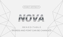 Nova Font Effect. Creative Metallic Vector Font Effect. Easy To Edit
