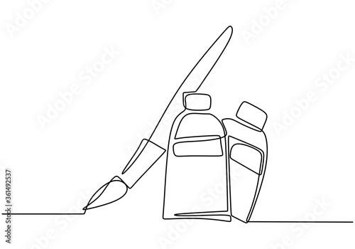 Brush and paint of the tube one line drawing vector illustration isolated on white background Fototapeta