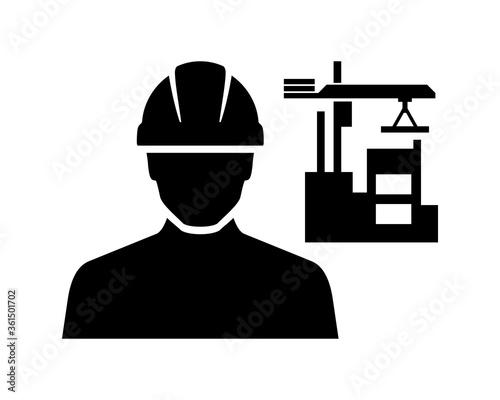 Obraz na plátně Construction Site Worker Vector Icon