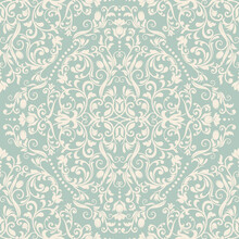 Seamless Damask Wallpaper. Seamless Vintage Pattern In Victorian Style . Hand Drawn Floral Pattern. Vector Illustration