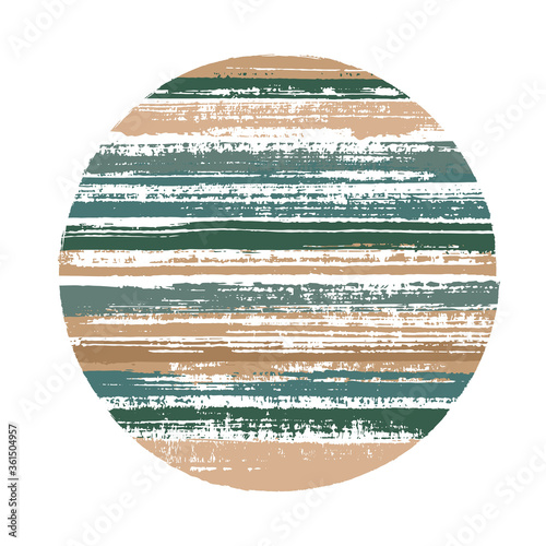 Photo Vintage circle vector geometric shape with striped texture of paint horizontal lines